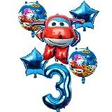 globo 6 Piezas Super Wings Balloon Jett Balloons Super Wings Toys Fiesta De Cumpleaños 32 Pulgadas Decoraciones De Números Niños Globos De Juguete Suministros Entrega Aleatoria