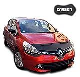 Protezione Cofano Clio 4 CARBON Copertura Cofano Car Bra Auto NERO Front Maschera Bonnet Tuning