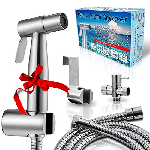 AVAbay Bidet Sprayer for Toilet-Cloth Diaper Sprayer-Baby Hand Held Shower Spray Attachment-Premium Water Handheld Shattaf Sprayer-60' Hose-High Pressure-No Leaks-Stainless Steel Bedit Cleaner