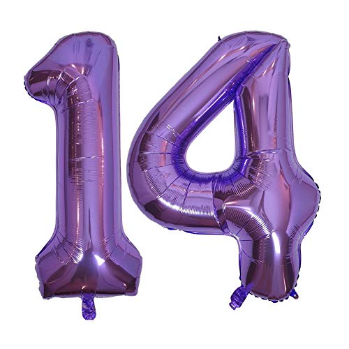 DIWULI, gigantescos Globos de número XXL, número 14, Globos púrpura Lila, número de Globos, Globos de Papel de Aluminio años, Globos Gigante Grande de Aluminio 14° cumpleaños, decoración, Fiesta