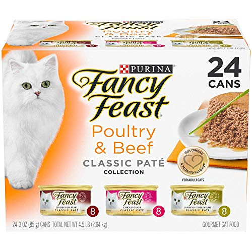 Purina Fancy Feast Poultry & Beef Feast Variety Classic Canned Cat Food 24 - 3 oz. Cans