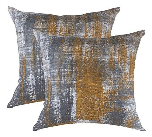 TreeWool - Pack de 2 - Cepillo Arte Acento Decorativo Fundas de cojín, 100% algodón (45 x 45 cm / 18 x 18 Inches, Mostaza)