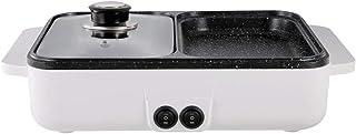 LTLCLZ BBQ Mini Olla Caliente Barbacoa Doble Uso Integrado Hogar Doble Uso Eléctrico Barbacoa Parrilla Máquina De Barbacoa Doble Nivel Ajuste Partición Temperatura Independiente Doméstica,Blanco