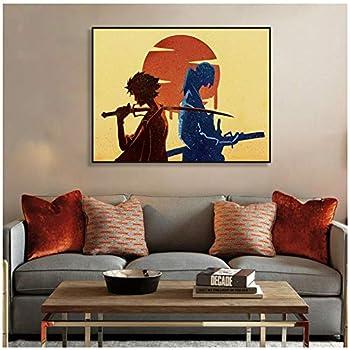 dubdubd Watercolor Samurai Champloo Anime Canvas Painting Poster Boy Bedroom Decorative Painting Wall Art Canvas -60X80Cm No Frame 1 Pcs