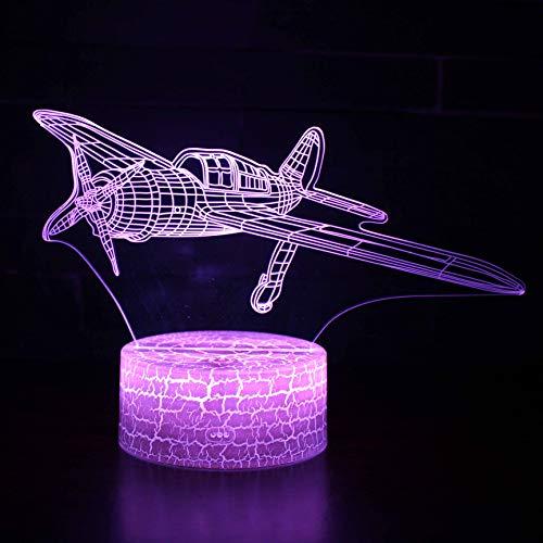 Vliegtuig lamp 3D optische illusie nachtlicht heer LED tafellamp verlichting nachtlicht 7 kleuren touch-bediening