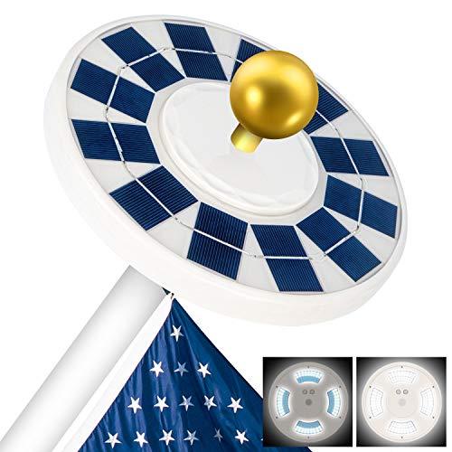 Solar Flag Pole Light, New Version 128 LED Solar Powered Flagpole Lights, Super Bright Solar Powered Flagpole Light, LED Downlight up Flag on Most 15 to 25Ft, Longest Lasting Upto 10 Hrs, Auto On/Off