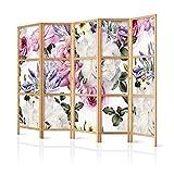 murando - Paravent XXL Blumen Rose 225x171 cm 5-teilig einseitig eleganter Sichtschutz Raumteiler Trennwand Raumtrenner Holz Design Motiv Deko Home Office Japan b-B-0379-z-c