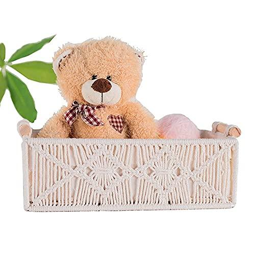 Canasta de almacenamiento Boho caja decorativa tejida a mano decorativa para encimera organizador de tanque de cestas de macramé para dormitorio sala de estar - Marfil