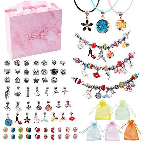 JBonest Juego de pulseras para hacer abalorios, juego de pulseras para niñas y mayores, para hacer joyas de bricolaje, para regalar con abalorios, para niñas y adultos