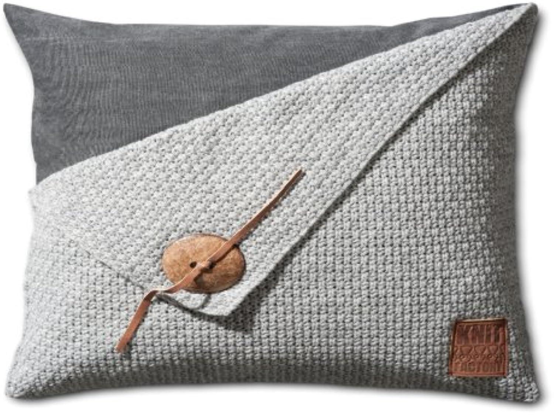 Knit Factory Dekokissen Strickkissen Reiskorn   60 x 40 cm Grau (mit Füllung)