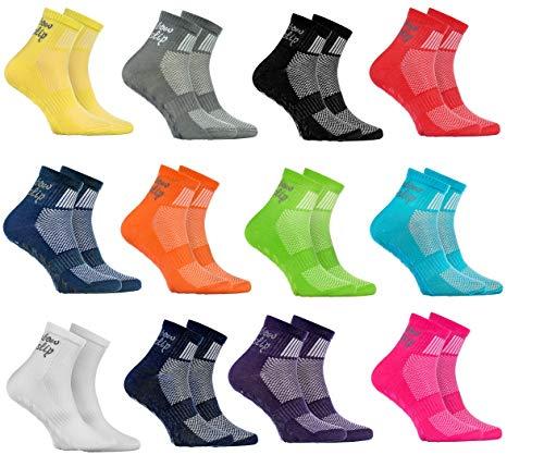 Rainbow Socks - Niño Niña Deporte Calcetines Antideslizantes ABS de Algodón - 12 Pares - Rojo Verde Amarillo Azul de Mar Azul Azul Marino Rosa Blanco Negro Gris Naranja Purpura - Talla 24-29