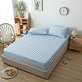 HAIBA Protector de colchón impermeable y transpirable (azul, 90 x 200 cm + 30 cm)