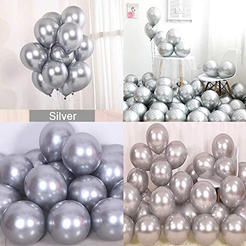 50 Stück Luftballons Silber metallic,Luftballons glänzendes,latexballons metallic,Luftballons Helium,Luftballons Geburtstag Hochzeit Party,Silber Luftballons metallic(Silber)