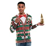 Faux Real Men's 3D Photo-Realistic Ugly Christmas Sweater Long Sleeve T-Shirt, Candy Cane Cardigan, Medium