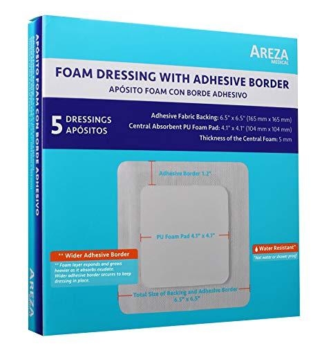 """Areza Medical vendaje de espuma con borde adhesivo 6.5"""" x 6.5"""" espuma central: 4.1"""" x 4.1"""" espesor 0.197in 5 por caja"""