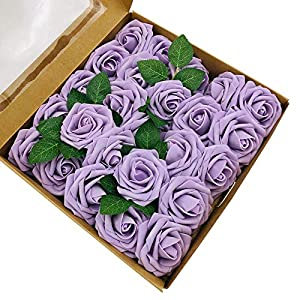 zorpia 50pcs Artificial Roses Flowers Real Looking Fake Roses Artificial Foam Roses Decoration DIY for Wedding Bouquets Centerpieces,Arrangements Party Baby Shower (Lilac)