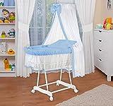 WALDIN Baby Stubenwagen-Set mit Ausstattung,XXL,Bollerwagen,komplett,6 Modelle wählbar,Gestell/Räder weiß lackiert,Stoffe blau/weiß