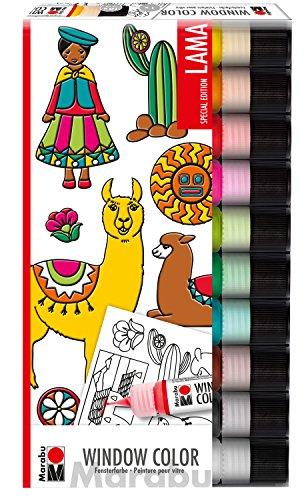 Marabu 0406000000126 - Window Color fun & fancy, Lama, Transparentfarbe auf Wasserbasis, für glatte Oberflächen, 10 x 25 ml Farbe und Malvorlage A4 mit 16 Motiven aus der Lama Welt