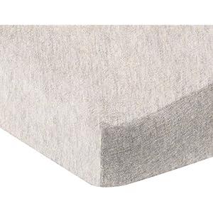 Amazon Basics Heather Jersey Fitted Crib Sheet Bedding, Oatmeal