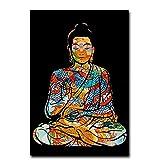 JLFDHR Bunte Drachentätowierung Buddha Zazen Religion