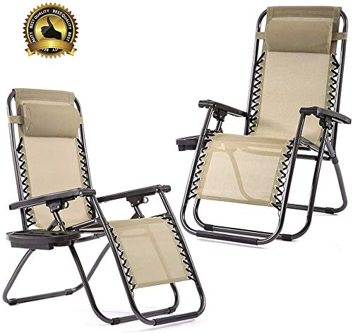 Zero Gravity Chairs Set of 2 with Pillow and Cup Holder Patio Outdoor Adjustable Dining Reclining Folding Chairs for Deck Patio Beach Yard (Tan)