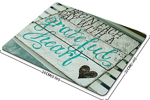 Smooffly Gaming Mouse Pad Custom, Begin Each Day with A Grateful Heart Quotes Rustic Turquoise Wood Design, Inspirational Bible Verse Scripture Quote Mouse Pads Photo #3