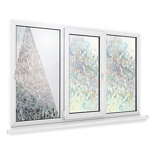 Maison & White 3D Privacy Window Film | Nichthaftende statische Haftung | Bunte dekorative Mattglasabdeckung | Anti UV Mosaic Design | 44cmx200cm