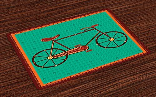 ABAKUHAUS Fahrrad Platzmatten, Design eines Fahrrades in ethnischem asiatischem Desi Art Style Folkloric Framework, Tiscjdeco aus Farbfesten Stoff für das Esszimmer und Küch, Grün braun und Orange