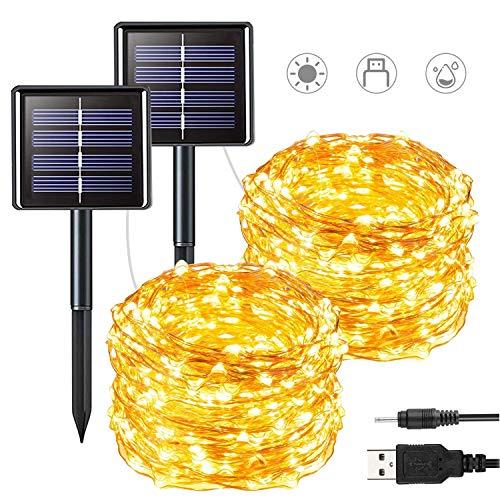 2er Solar Lichterkette Außen, Naspaluro LED Lichterkette Innen 12M 100 LED 2 Modi USB Innen Party Deko Licht für Weihnachten Balkon Terrase Baum Garten, Warmweiß