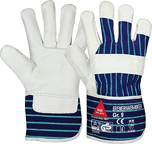 strongAnt - BREMERHAVEN-WINTER Arbeitshandschuhe aus Vollleder, Winter-Handschuhe, Sicherheitshandschuh - TÜV GS-Größe:12