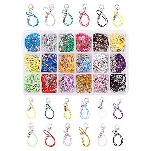 "PH PandaHall 180 PCS 18 Color 2.75"" Strap Charm Lariat Lanyard W/Lobster Clasp Cords for Cellphone/USB Drive/Keychain/DIY Jewelry"