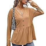 YANFANG Camiseta Holgada con Cuello en V para Mujer Estilo Primavera y otoño,Camiseta Básica 100% Algodón Orgánico para Mujer,, Brown,XL