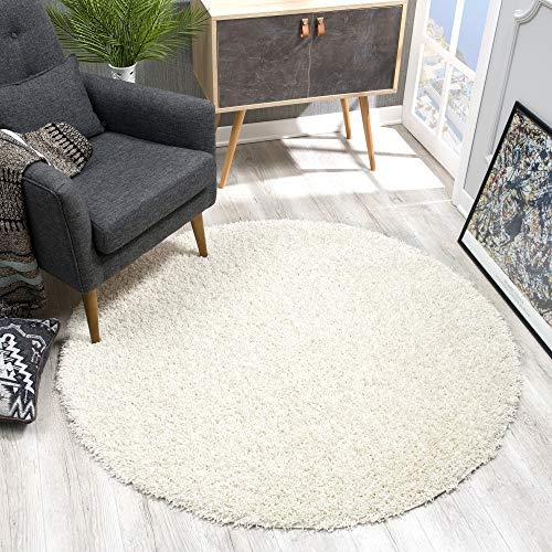 SANAT Teppich Rund - Creme Hochflor, Langflor Modern Teppiche fürs Wohnzimmer, Schlafzimmer, Esszimmer oder Kinderzimmer, Größe: 80x80 cm
