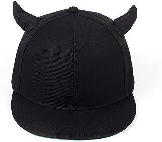 JJSPP Black Cotton Adjustable Baseball Cap With Horns High Quality Snapback Hat