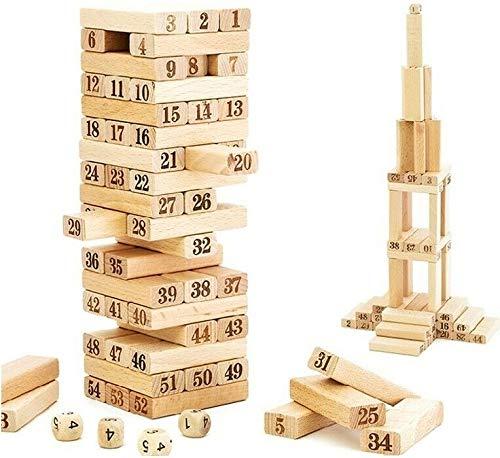 TW1000 Torre de Bloques de Madera Juego de Mesa 54 Piezas + 4 Dados