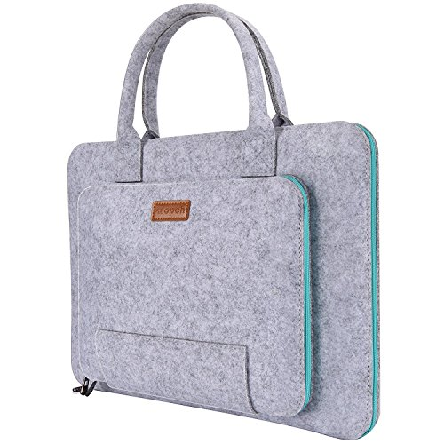 Ropch 15.6-Inch Felt Laptop Sleeve Handle Notebook Computer Carrying Case Bag Pouch Compatible with 15' Acer, ASUS, Dell, HP, Lenovo, Toshiba, Gray & Light Blue