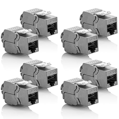 deleyCON 8X Keystone Modul CAT 6a Jack - Vollgeschirmt STP RJ45 Buchse Werkzeugfrei Dank Snap-In Montage CAT Rohkabel 500Mhz 10GBit/s