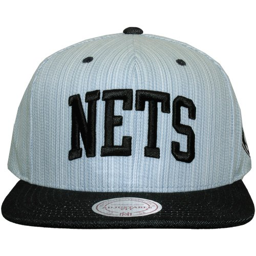 Mitchell And Ness - Casquette Snapback Homme Brooklyn Nets Striped Denim Arch - Blue/Navy