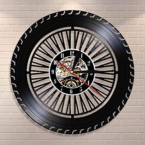 GVC Reloj de Pared con Ruedas de Alto Rendimiento Reloj de Ruedas para Autos Antiguos Servicio de Ventas de automóviles Reparación de Garaje Signo de Registro de Vinilo Reloj de Pared Decorativo