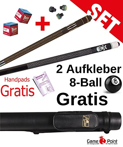 Partnerangebot: Billard-Queues Black Death und Tycoon TC-3 blau, 2-tlg. mit Köcher Laperti 2/2 PVC schwarz mit Zubehör + WINNERS Handpads + 2 Aufkleber 8-Ball GRATIS