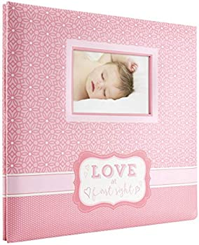 MCS MBI 13.5x12.5 Inch  Love at First Sight  Baby Scrapbook Album with 12x12 Inch Pages Pink  860126