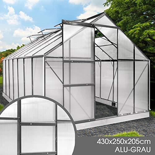 BRAST Gewächshaus Aluminium mit Fundament rostfrei 430x250x205 Grau 6mm Platten Alu Treibhaus Glashaus Tomatenhaus