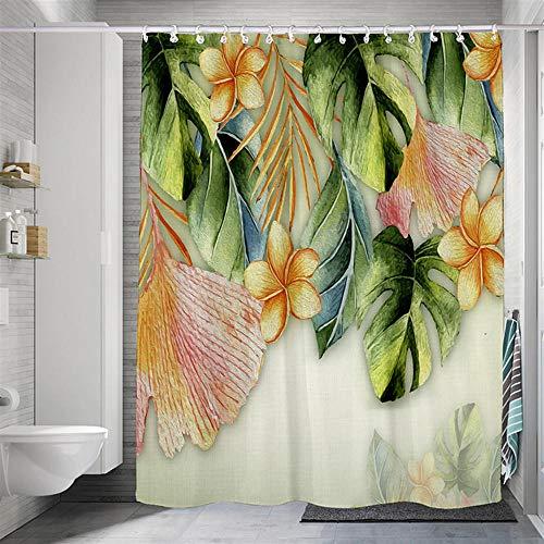 BLZQA Duschvorhang Badewannenvorhang Duschvorhänge Schimmelresistenter & Wasserabweisend Shower Curtain mit 12 Duschvorhangringen 180 x 200 cm (Grüngelbe Blätter)