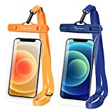 Rynapac B02 6.9'' Clear PVC Waterproof Phone Bag, Universal Watertight Cellphone Case, IPX8 Waterproof Phone Pouch for Kayak, Travel, Boating, Fishing, Hiking, 2 Pack