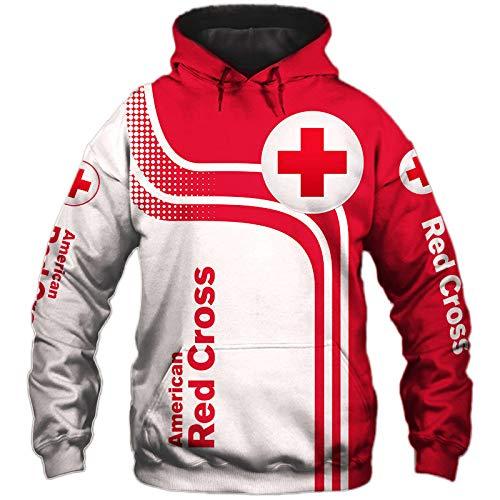 SPORTYAN 3D Voll Drucken Hoodies,T-Shirt,Jacke Rotes-Kreuz Herren Leicht Sweatshirt Unisex Beiläufig Fußball Sportkleidung Y/A/S