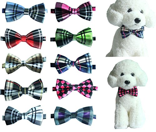 yagopet 10pcs Pack Pet Dog Bow tie Neckties Double Layers Hot Business Grid Design Cat Dog Bowtie neckties Adjustable Pet Pet Collars Dog Grooming Products Dog Accessories