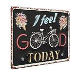 Photolini Cartel de Chapa Feel Good 20x30 cm Cartel de Metal Vintage Lema Bicicleta Tipografía...