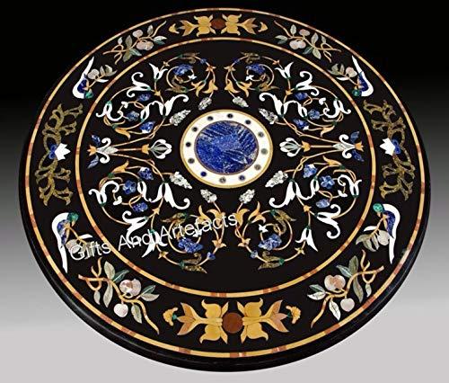 Mesa de mesa con incrustaciones de piedra negra Pietra Dura Art para decoración de habitación de invitados