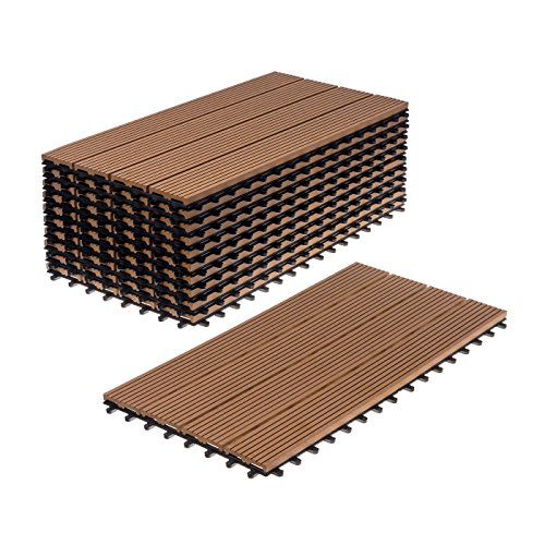 WPC Holz Kunststoff Fliesen Terrassenfliesen Klickfliesen Balkonfliesen 11 Stück (30x60 cm Standard, braun)