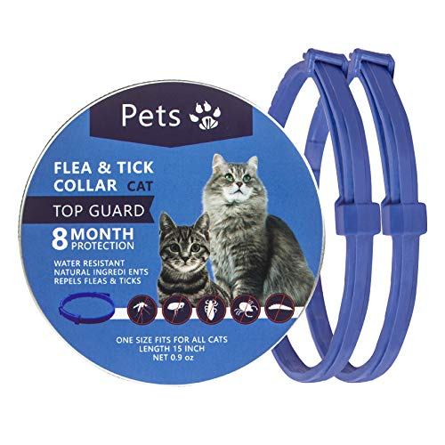 Petsvv 2 Pack Cat Flea Collar with 8 Months, Flea Collar for Cats Easy to Repels Fleas & Ticks